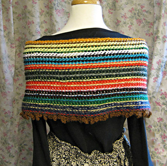 double ended crochet shawl with a chain stitch fringe