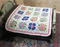 Miniature patchwork crochet blanket 1/12 scale