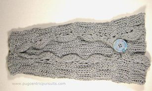 Detail of button closure on dog sweater at Pugcentric Pursuits needlework blog