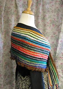 cro-hook wrap shawl with rows and rows of color changes