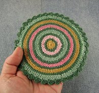 Rustic round crochet miniature dollhouse rug