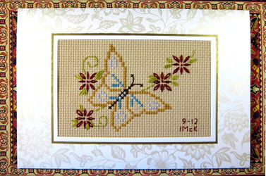 cross stitch card using stamped good motif