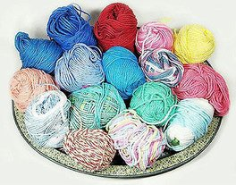 basket of scrap yarn