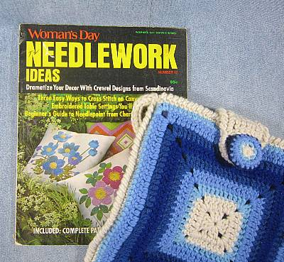 Granny square purse inspired by vintage Woman's Day Needlework Ideas magazine